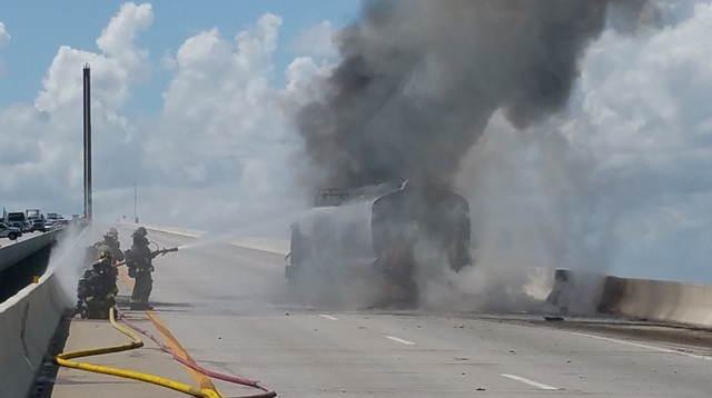 Florida bridge closed in all directions due to tanker fire