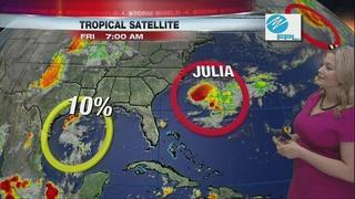 Tropical Storm Julia keeping strength off coast