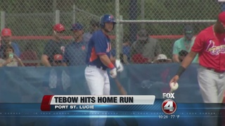 Tebow homers in 1st at-bat for Mets in debut