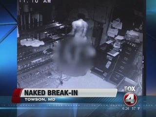 Nude man caught on camera breaking into pizzeria