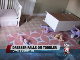 Toddler saves twin brother from fallen dresser