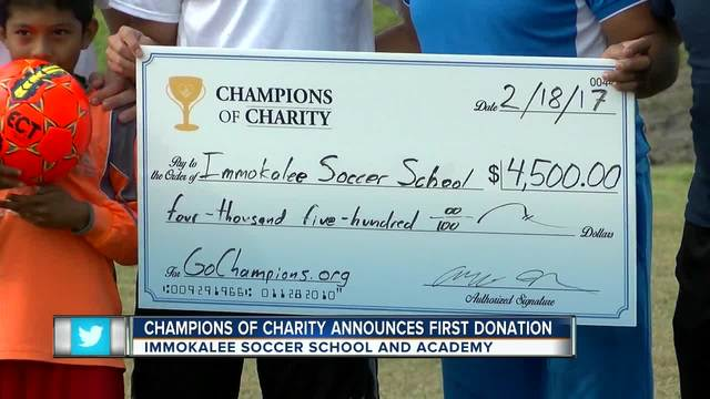Champions of Charity gives Immokalee Soccer School - Academy surprise donation