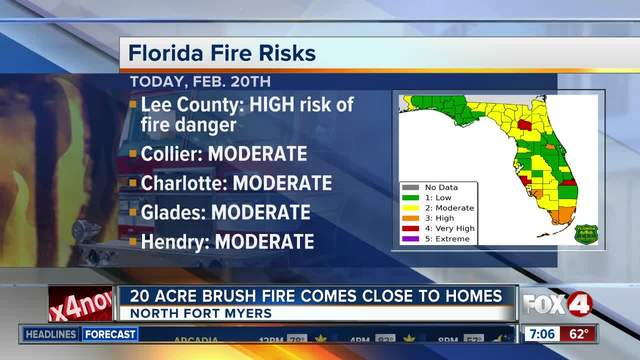Crews battle brush fire close to homes in North Fort Myers - 7am update