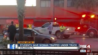 High school heroes lift truck off woman