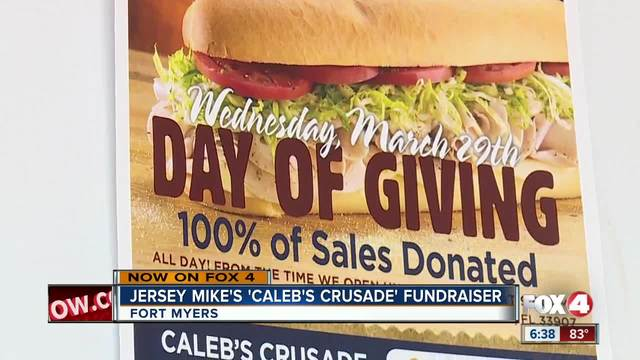 Jersey Mikes donating money from Wednesday-s sales to Caleb-s Crusade