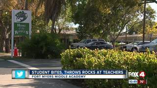 Student bites, throws rocks at teachers