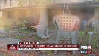 Evacuee narrowly escapes fire
