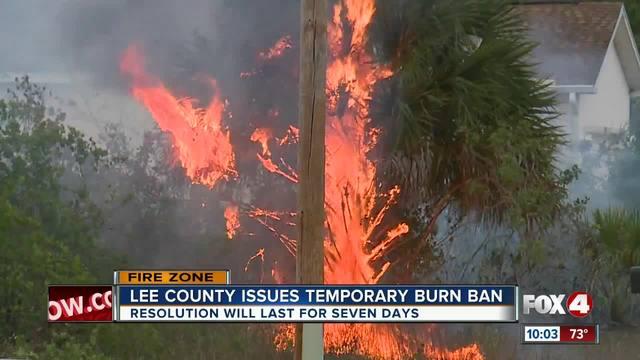 Emergency burn ban enacted in Lee County