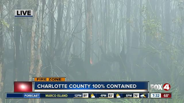 Charlotte County fire now 100- contained - 7-30 am update
