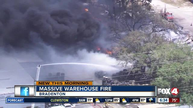 Fire crews monitor hot spots after massive 5-alarm fire in Bradenton