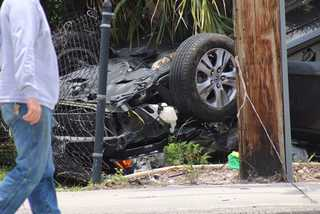 Photos: Car vs. Motorcycle crash on Pondella Rd.