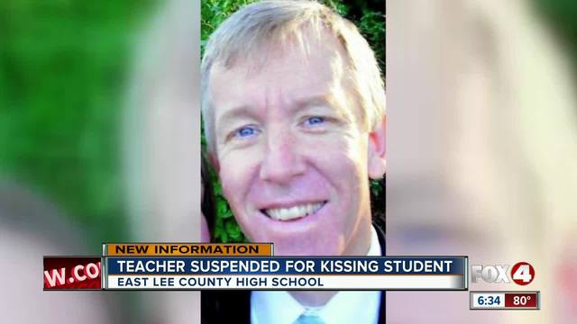 Teacher suspended after kissing student