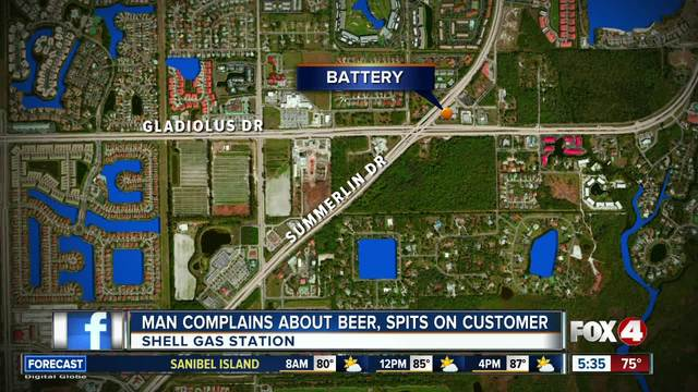 Man complains about beer- spits on customer