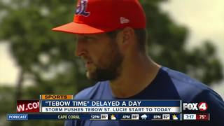 Tebow's first game with St. Lucie Mets delayed