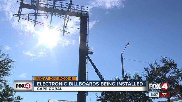 Electronic billboards being installed