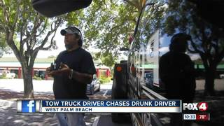 Tow truck driver follows drunk driver with child