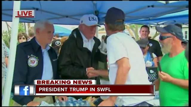 Trump Hands Out Sandwiches At Naples Mobile Home Park Damaged By Hurricane Irma