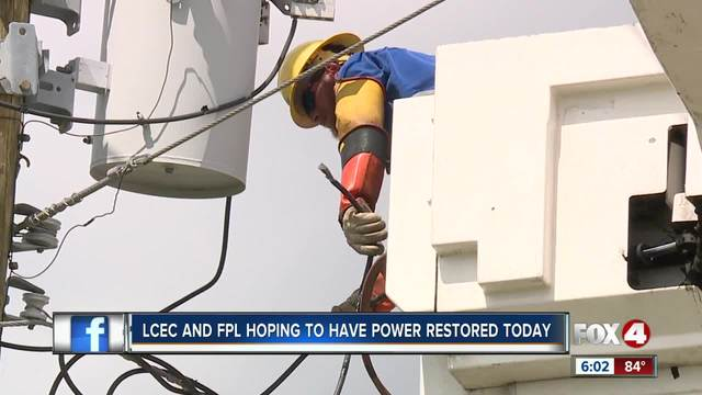 LEHIGH ACRES Fla.- Florida Power & LIght and LCEC both say they have'essentially restored power to all areas they serve