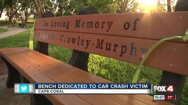 Cape couple has bench dedicated to daughter who died in crash