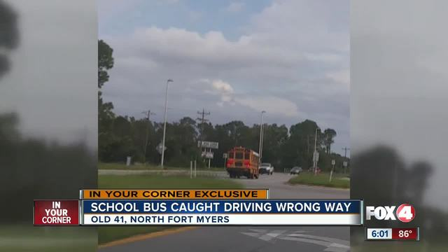 School bus caught driving the wrong way in North Fort Myers