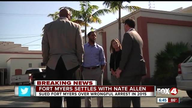 Nate Allen to receive 440k from Fort Myers for wrongful arrest