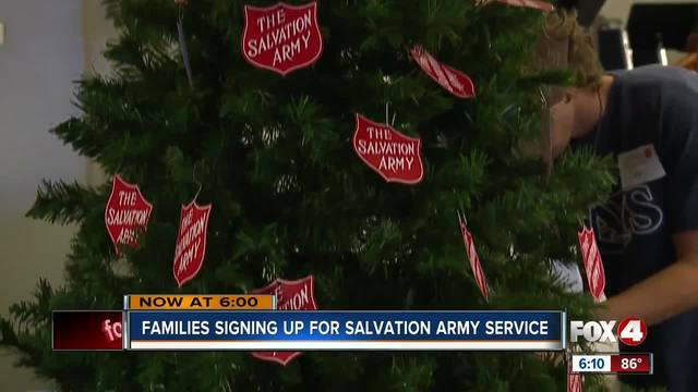 Families signing up for Salvation Army service