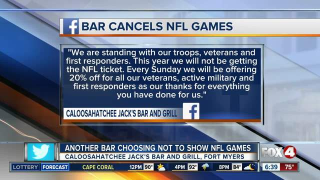 2nd restaurant in Southwest Florida vows to not show NFL games