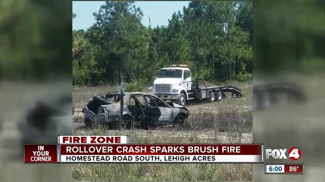 Several crews respond to Lehigh Acres vehicle fire turned brush fire