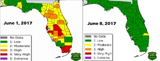 Drastic change in state fire danger map