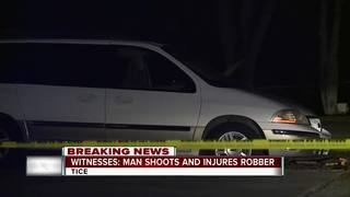 Robber shot after by victim, still at large