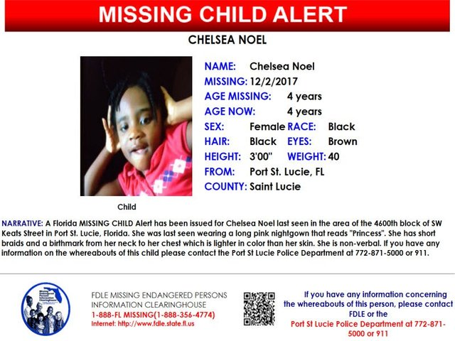 Missing child alert issued for 4-year-old Port St. Lucie girl