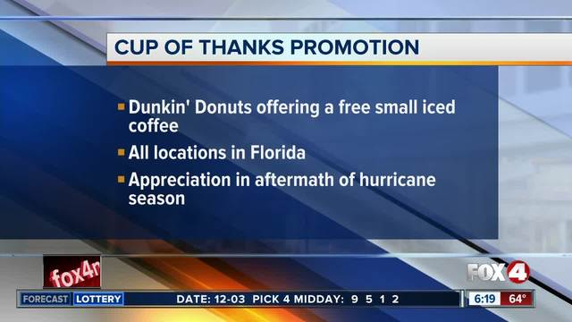 Dunkin' Donuts giving out free iced coffee Monday in Florida