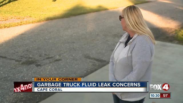 Waste Pro truck leaves stinky fluid substance on road in Cape neighborhood