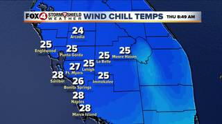 Coldest temps expected Thursday morning