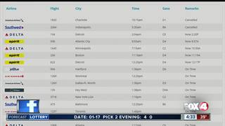 Winter weather causes flight delays in SWFL