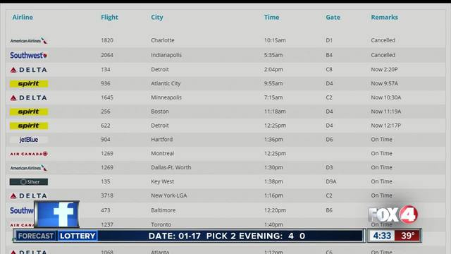 Winter weather causes flight delays in and out of RSW