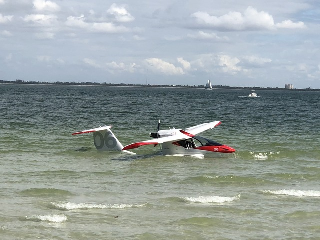 Small Plane In Shallow Water Off Sanibel On February 9, 2018.