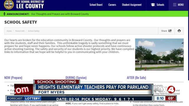 Teachers at Heights Elementary School pray for Parkland