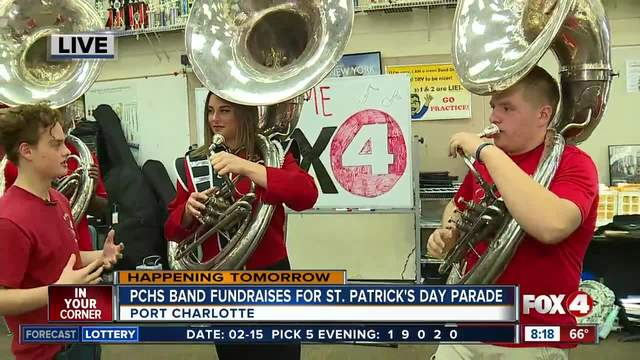 High school band fundraises for holiday parade in March - 8am live report