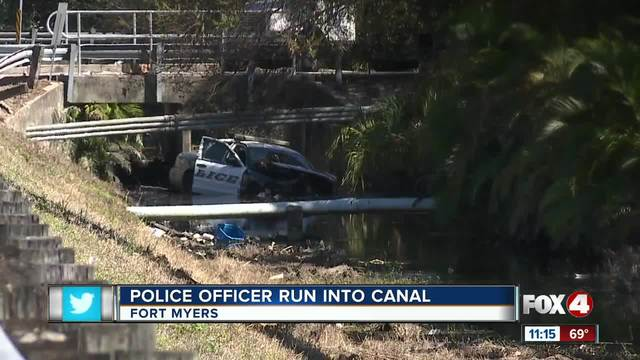 Police Officer Run into Canal