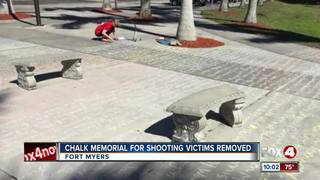 Student's chalk mass shooting memorial removed