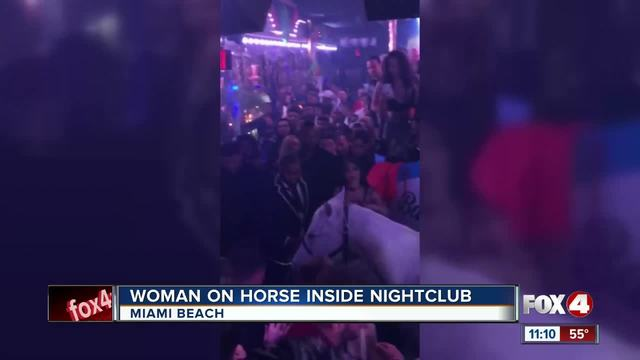 Woman rides horse onto dance floor and the horse throws her off