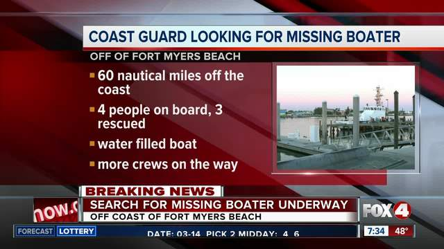 Coast Guard searches for boater after rescuing 3 in Florida