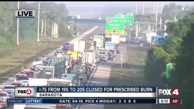 10-mile section of Interstate 75 closed in Sarasota County due to smoke
