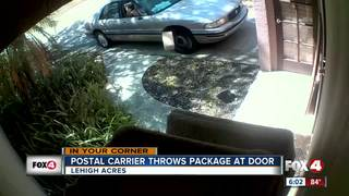 USPS carrier throws package from car