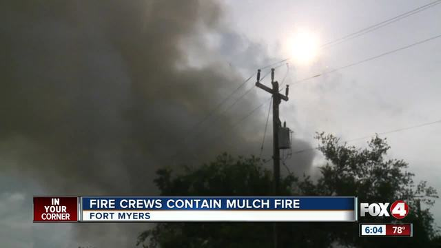Mulch pile leftover from Hurricane Irma catches fire