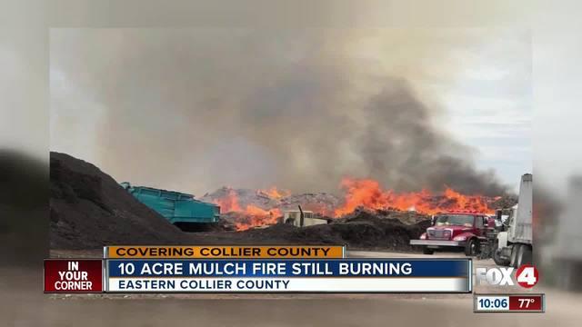 Collier County mulch fire still burning