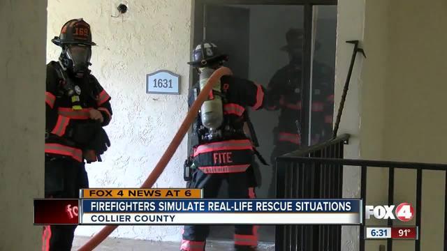 Firefighters train in soon-to-be-razed buildings