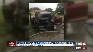 Lightning strikes car in Collier County