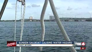 City of Fort Myers raising sunken sailboat
